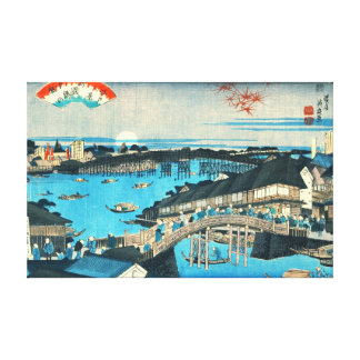 Evening Glow Ryogoku Bridge 1844 Canvas Print