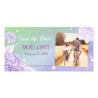 Evening Hydrangeas Wedding Photo Save the Date Photo Card Template