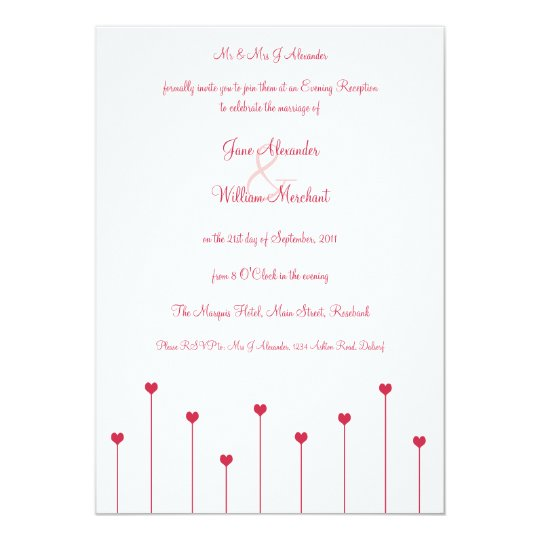 Evening Invitation simple, Modern Pink Love Hearts