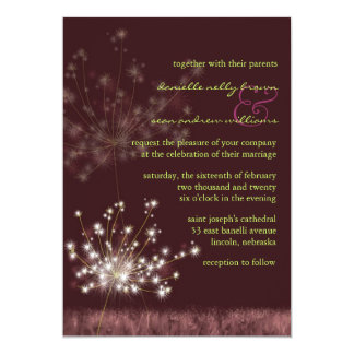 Evening Meadow Dandelions Burgundy Wedding Card
