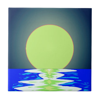 Evening Ocean Reflections Small Square Tile