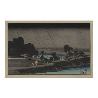 Evening Rain at Azuma Shrine Poster