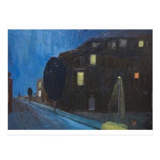 Evening Rain ( night expressionism ) Postcard