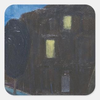 Evening Rain ( night expressionism ) Square Stickers