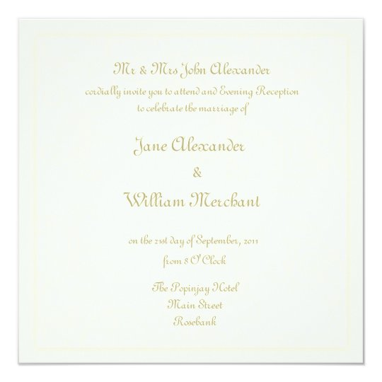 Evening Reception Wedding Invitaion - Ivory Swirl Card