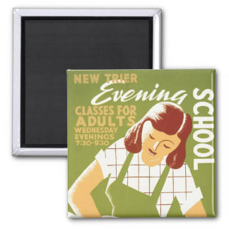 Evening School: Classes for Adults Square Magnet