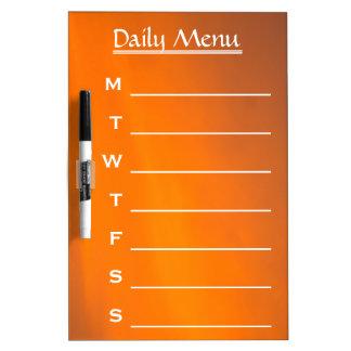 Evening Sky Orange Color Daily Menu Weekly Menu Dry Erase Whiteboards