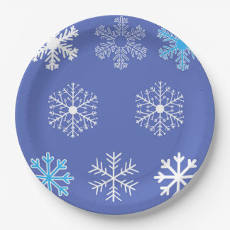 Evening Snowflakes Paper Plate
