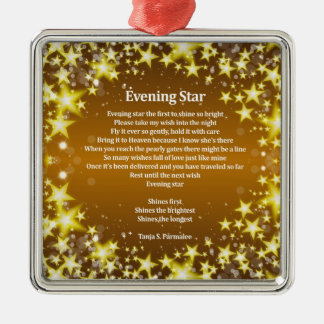 Evening Star Poetry Collector Silver-Colored Square Decoration