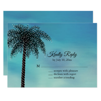 Evening String Lights Palm Tree RSVP turquoise Card