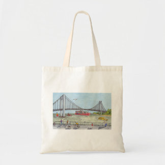 Evening stroll by the Verrazano Bridge Tote Bag