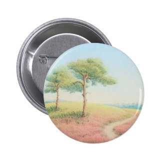 Evening Sun, New Forest Pine Trees in Pastel 6 Cm Round Badge