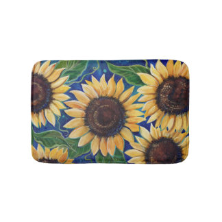 Evening sunflower bathroom floor mat by Renee