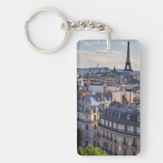 Evening sunlight over the buildings of Paris Double-Sided Rectangular Acrylic Key Ring