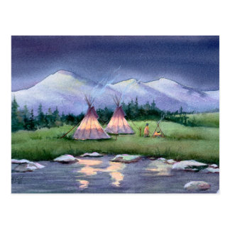 EVENING TIPI CAMP by SHARON SHARPE Postcard