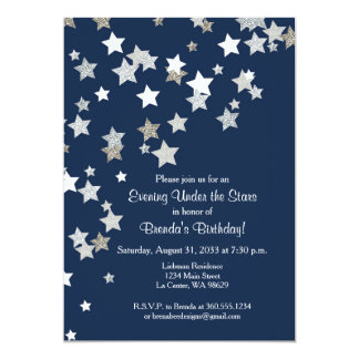 Evening Under the Stars with Silver Glitter 13 Cm X 18 Cm Invitation Card