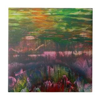 Evening unfurls over landscape small square tile