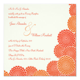 Evening Wedding Invitation Tangerine Flowers