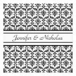 Evening Wedding Recption Black & White Damask Custom Invite