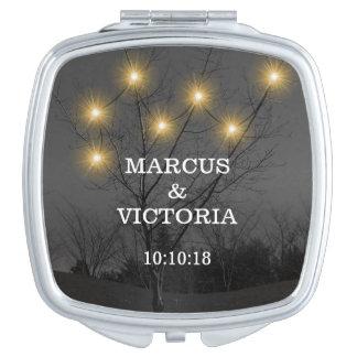 Evening Wedding Tree Lights Travel Mirror