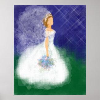 Evening Wedding Under the Stars Bride Posters