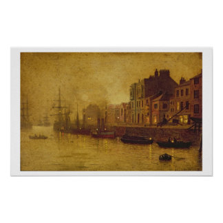 Evening, Whitby Harbour, 1893 (oil on board) Poster
