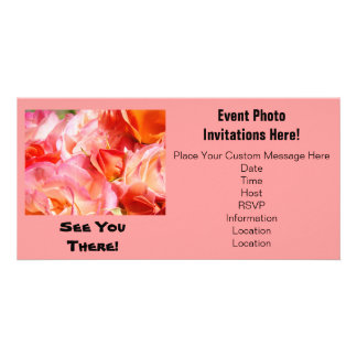Event Photo Invitations Pink Roses See You There! Customized Photo Card
