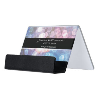 Event Planner • bokeh, sparkle lights, trendy Desk Business Card Holder