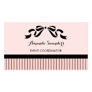 Event Planner Chic Parisian Pink Pinstripes Bow Business Card Template