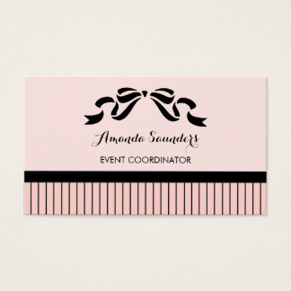 Event Planner Chic Parisian Pink Pinstripes Bow Business Card
