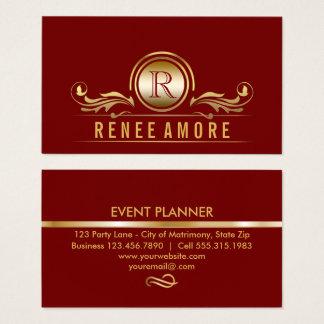 Event Planner | Elegant Red Gold Scrolls Monogram Business Card