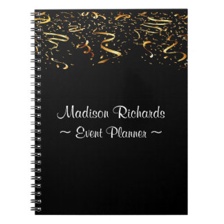 Event Planner Faux Gold Confetti Ribbons Notebooks