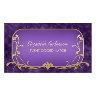 Event Planner Luxury Purple and Gold Floral Swirls Business Cards