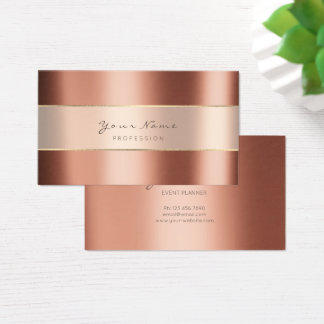 Event Planner Metallic Minimal Stripes Copper Rose Business Card