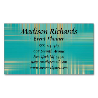 Event Planner Modern Turquoise Pattern Magnetic Business Card