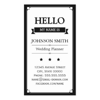 Event Planner - Retro Hello My Name Is Pack Of Standard Business Cards