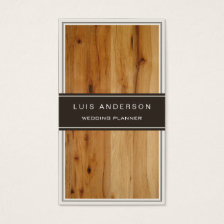 Event Planner - Stylish Wood Texture Business Card