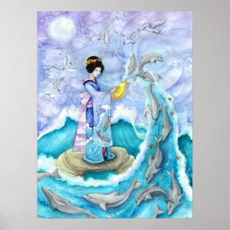 Eventide Fine Art Print Poster, Geisha Dolphin Art