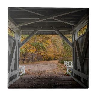 Everatt Road Covered Bridge Small Square Tile