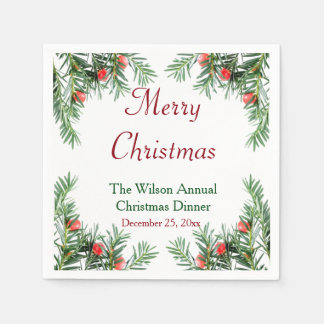 Evergreen and Red Berries Christmas Napkins Paper Napkin