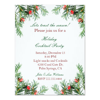 Evergreen and Red Berries Holiday Invitation