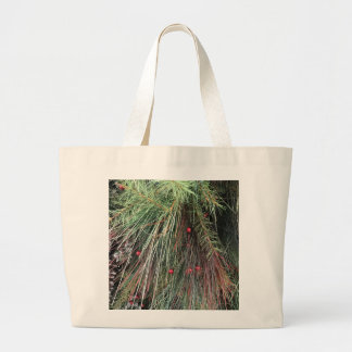 Evergreen and Snow Large Tote Bag