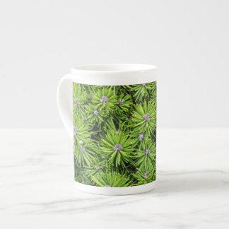 Evergreen branches bone china mug