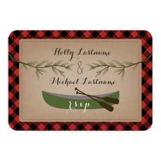 Evergreen Branches + Canoe Plaid Wedding R.S.V.P. Card