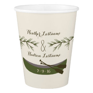 Evergreen Branches + Canoe Wedding Cups