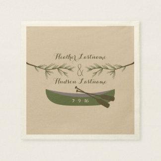 Evergreen Branches + Canoe Wedding Napkins Paper Napkin