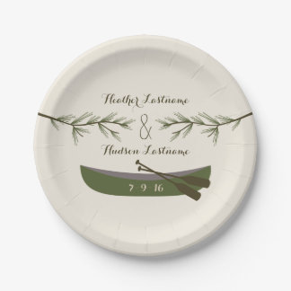 Evergreen Branches + Canoe Wedding Paper Plate