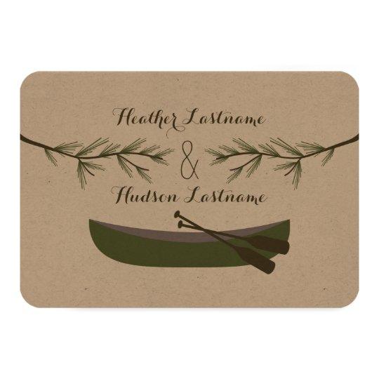 Evergreen Branches + Canoe Wedding R.S.V.P. Card