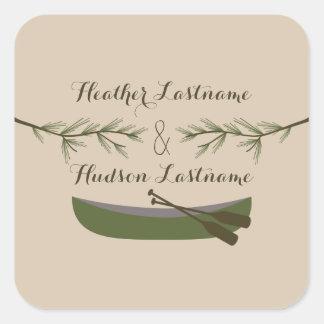Evergreen Branches & Canoe Wedding Sticker