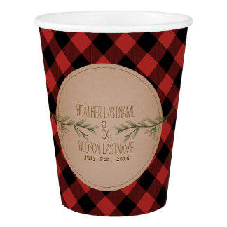 Evergreen Branches Plaid Wedding Cups